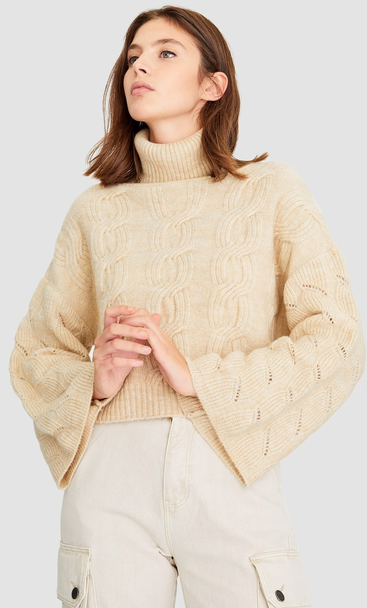 Turtleneck sweater with bell sleeves