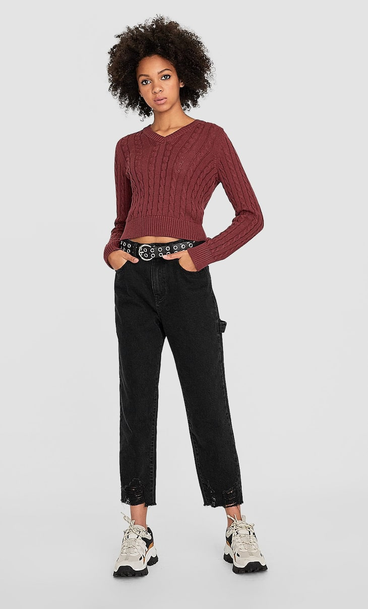 Fitted chunky cable-knit sweater with V-neck