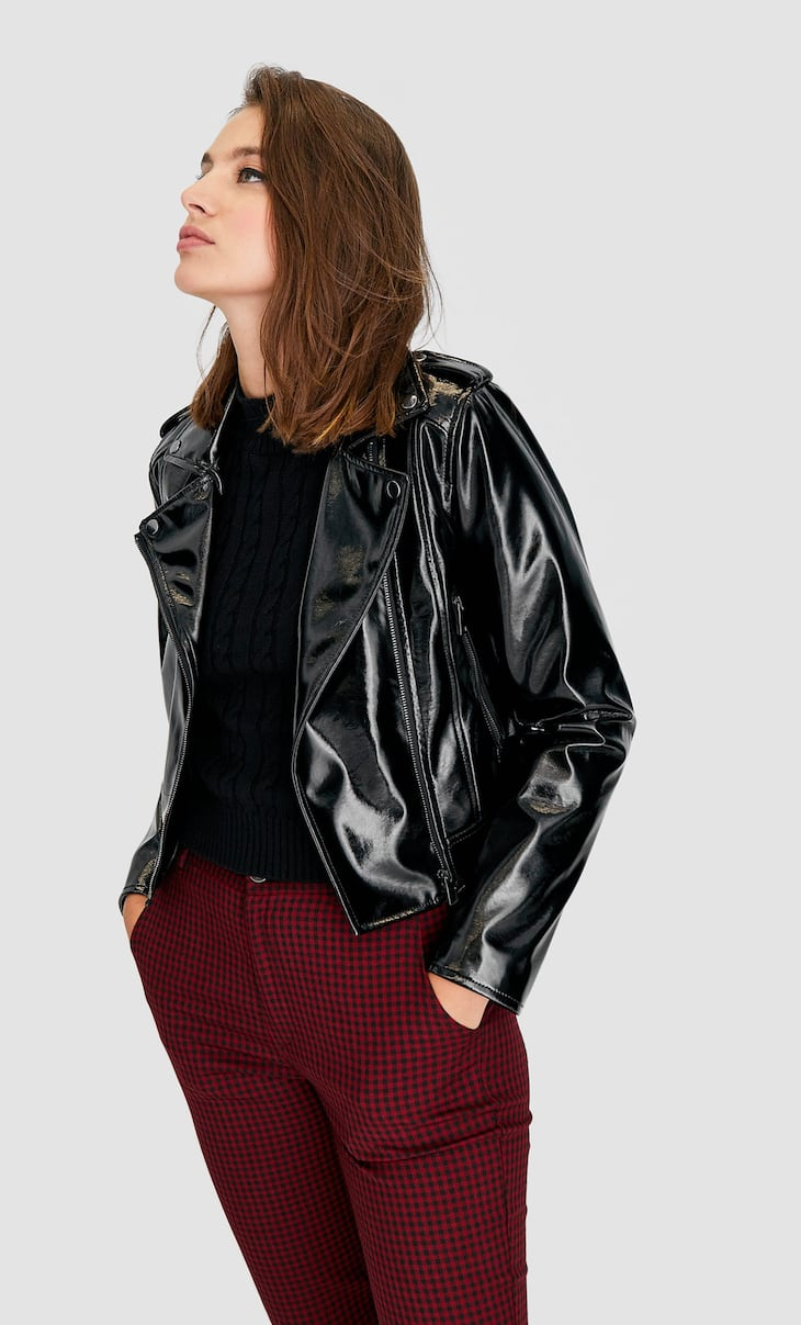Patent finish biker jacket