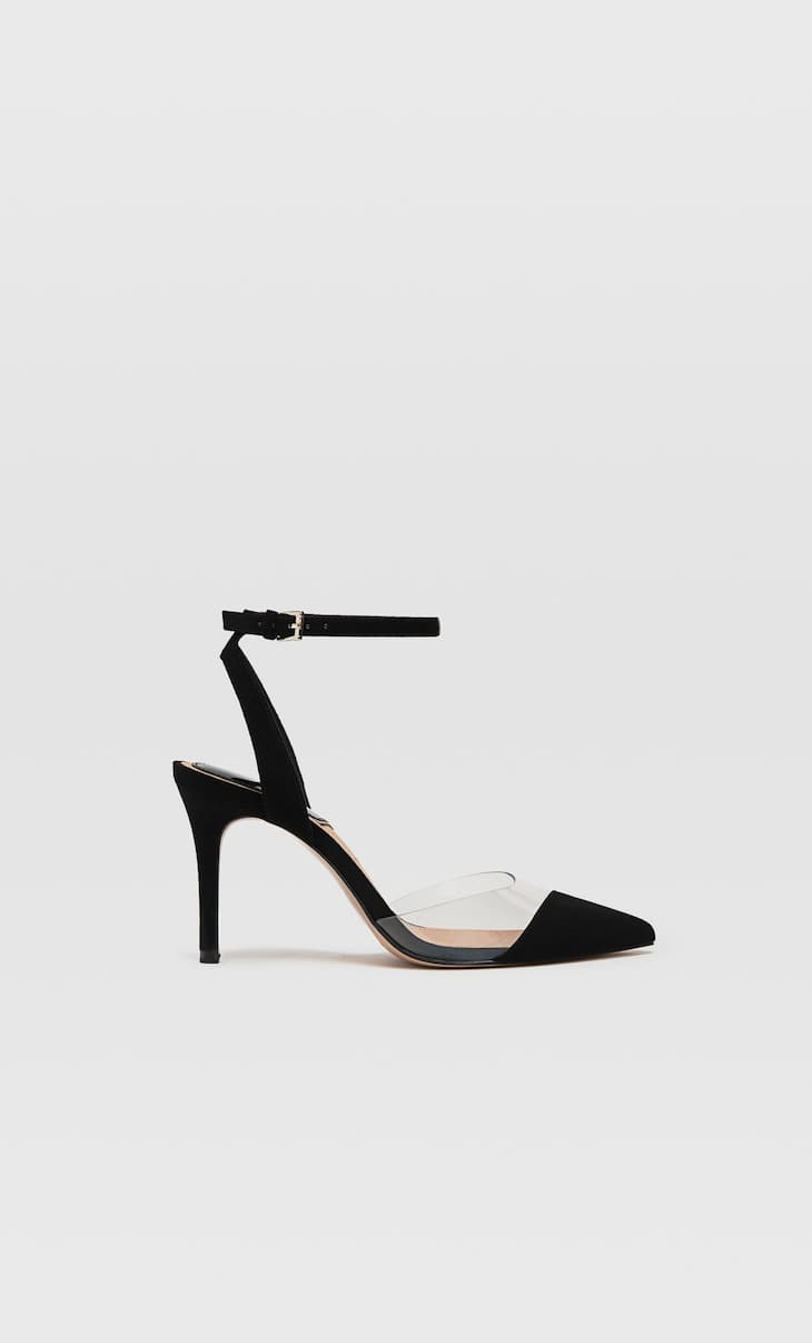 Black vinyl high-heel shoes