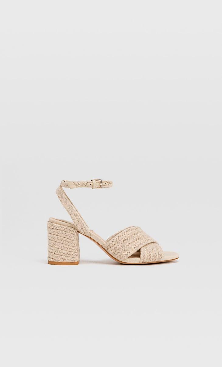 Raffia heeled sandals
