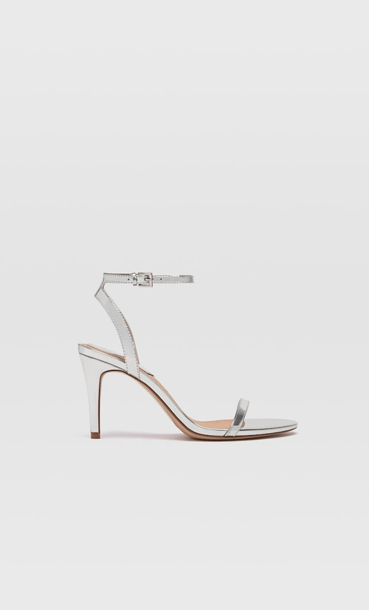 Silver stiletto heel sandals