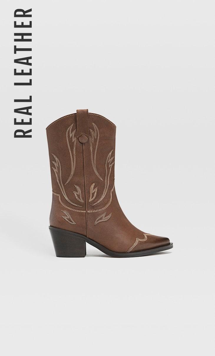 Botas cowboy PIEL marrón