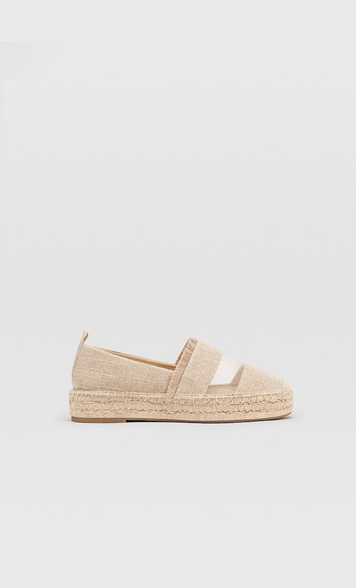 Espadrillas combinate in cotone reticolato naturale