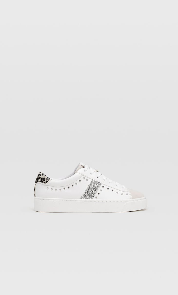 White glitter detail trainers