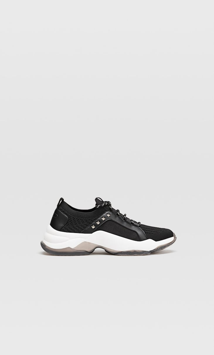 Fabric sock-style trainers with stud details