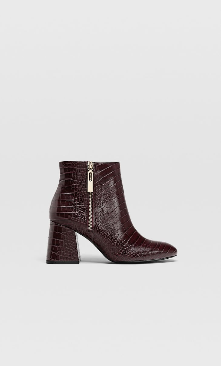 Maroon embossed high heel ankle boots