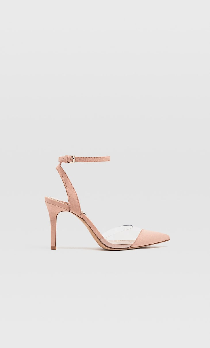 Pink vinyl high-heel shoes
