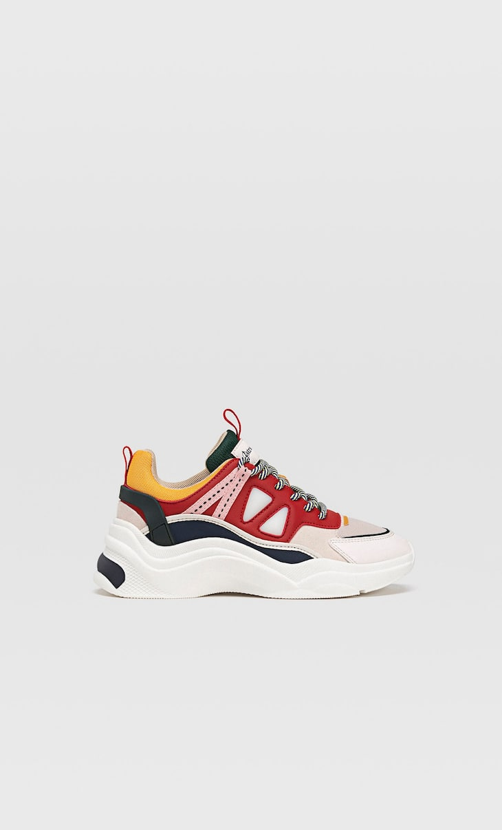Multicoloured chunky sole trainers