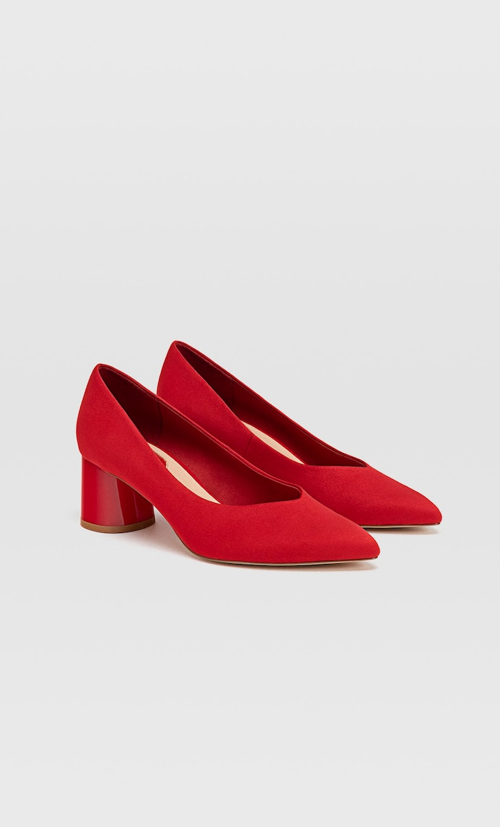 Red mid heel shoes