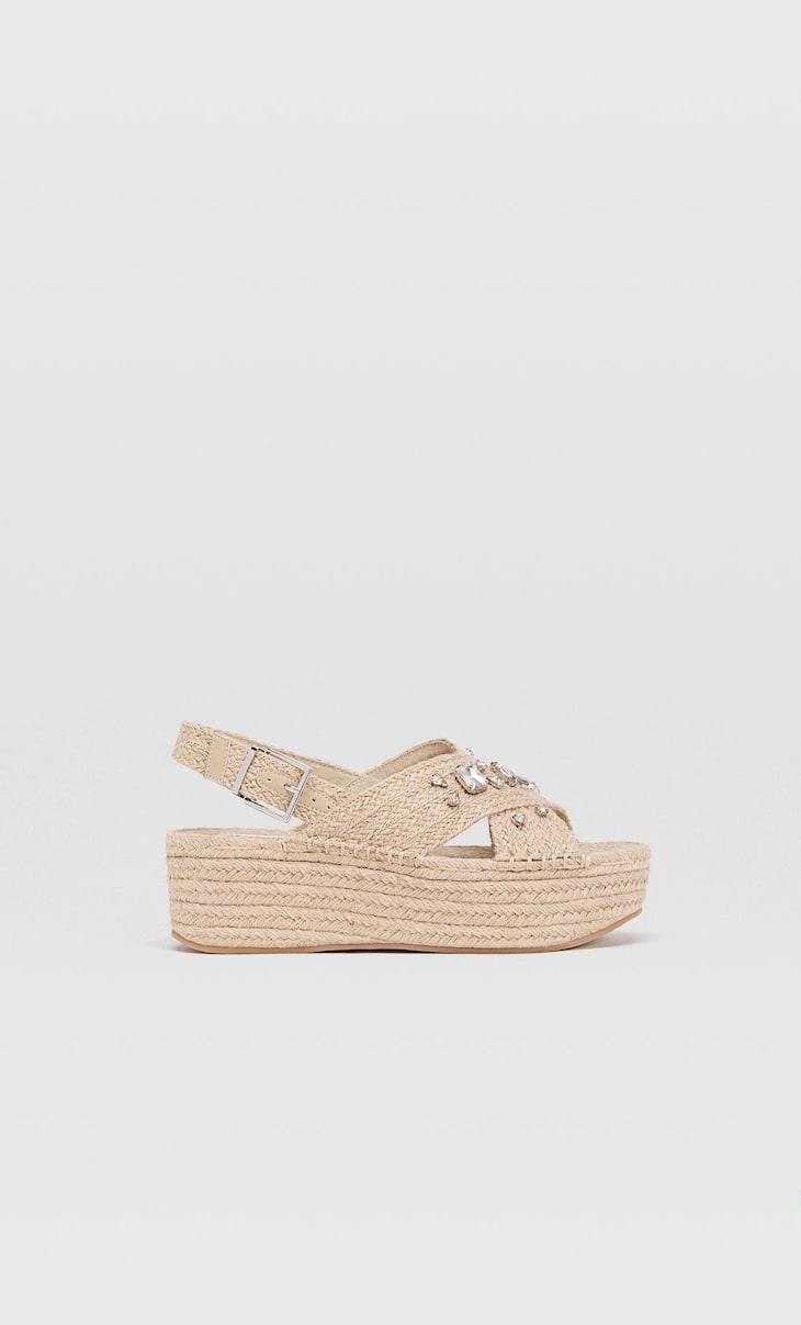 Bejewelled jute flatforms
