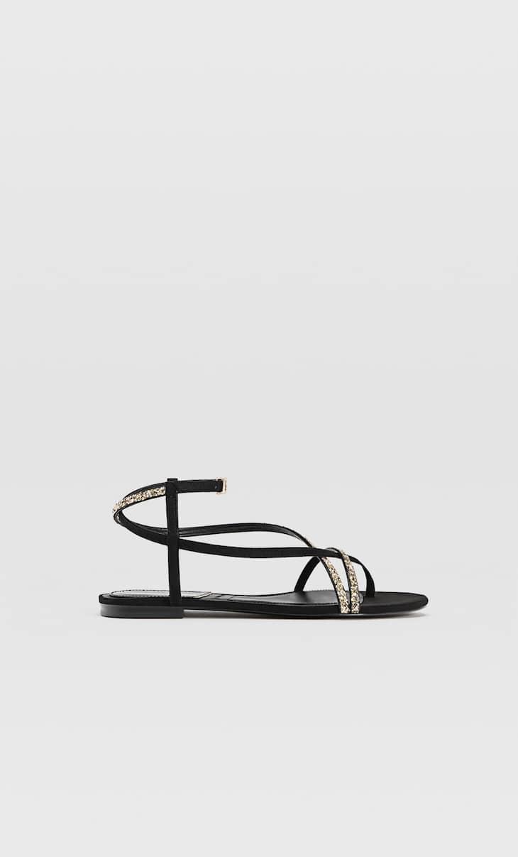 Black glitter flat sandals