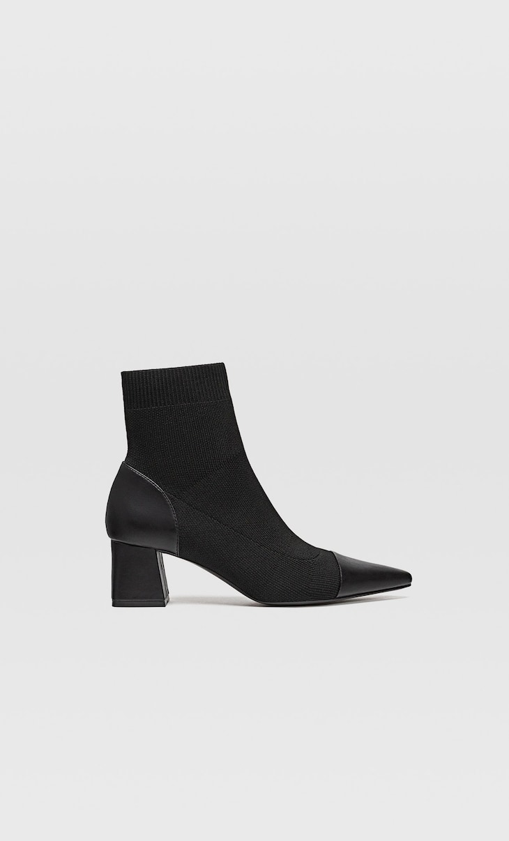 High heel boots with contrast stretch legs