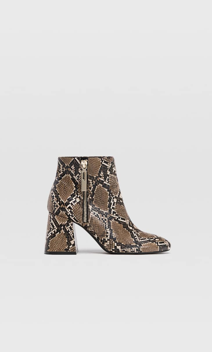 Animal print high heel ankle boots