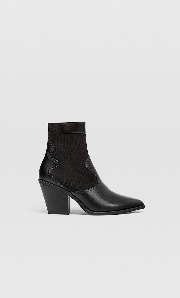 Ботинки в ковбойском стиле с эластичной деталью из ткани на голенище