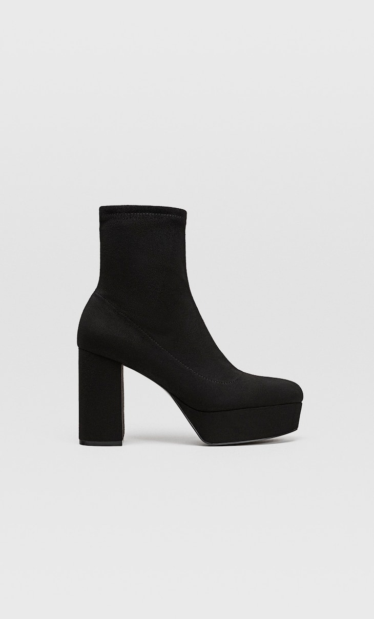 Platform ankle boots in stretch fabric
