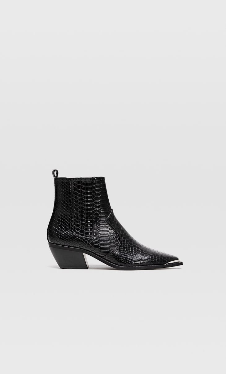 Black embossed cowboy ankle boots