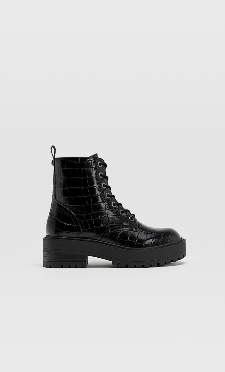 Embossed lace-up biker ankle boots