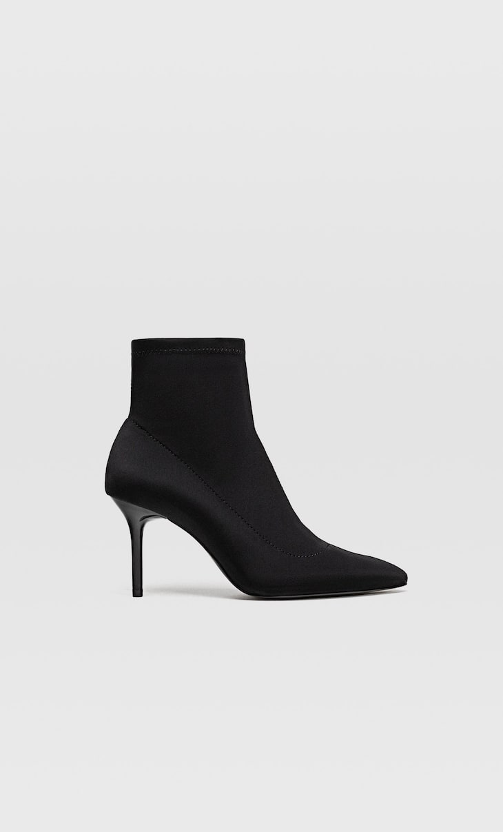 Neoprene ankle boots with stiletto heels