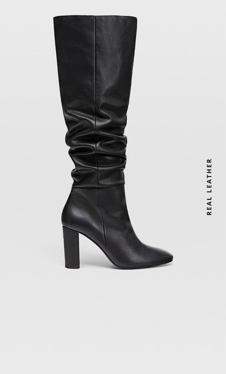 Bottes à talon XL cuir noir
