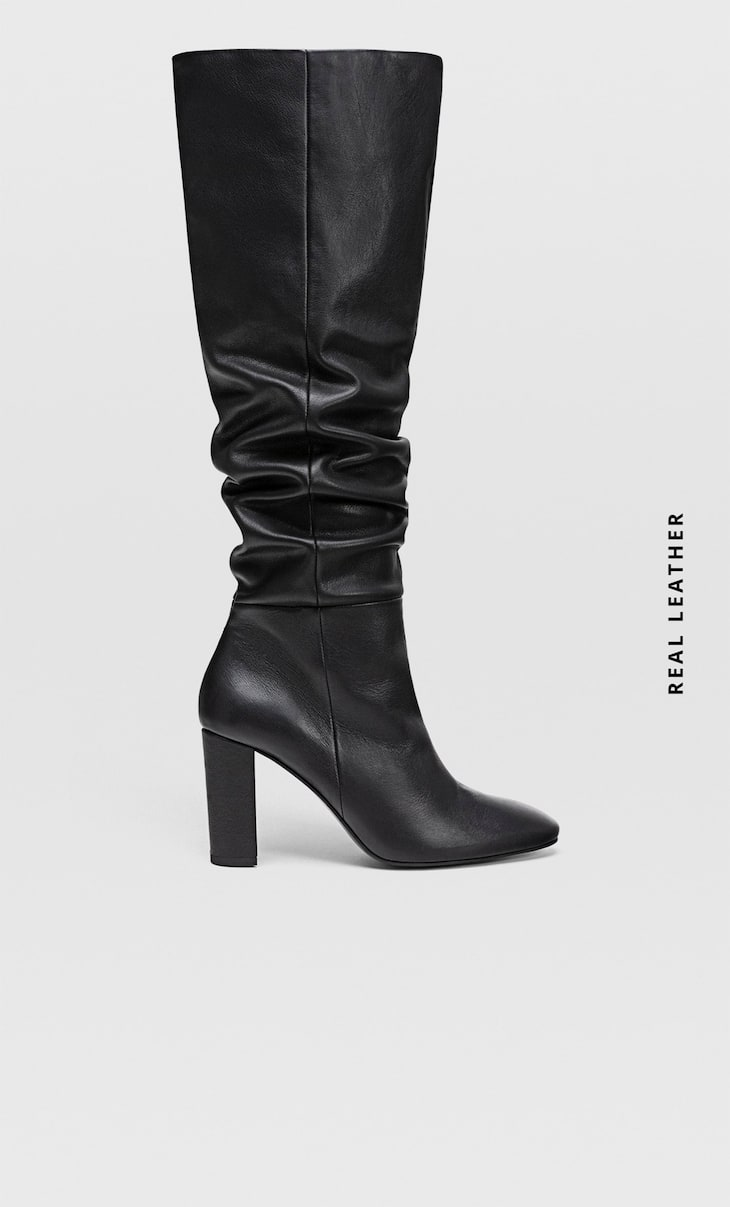 Black leather XL high heel boots