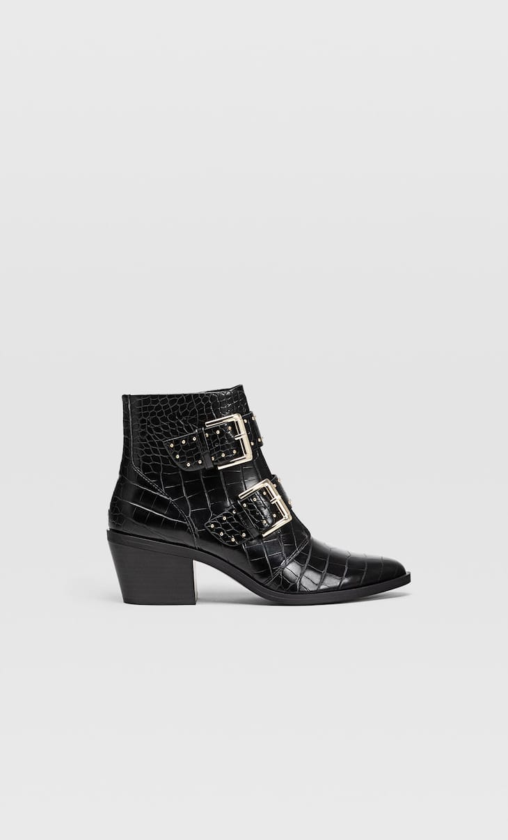 Embossed high heel ankle boots with buckles
