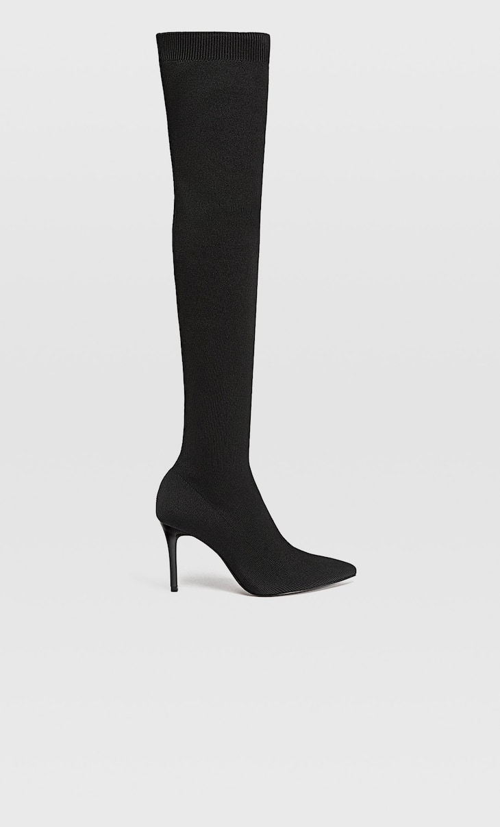 Sock-style over-the-knee fabric boots with stiletto heels