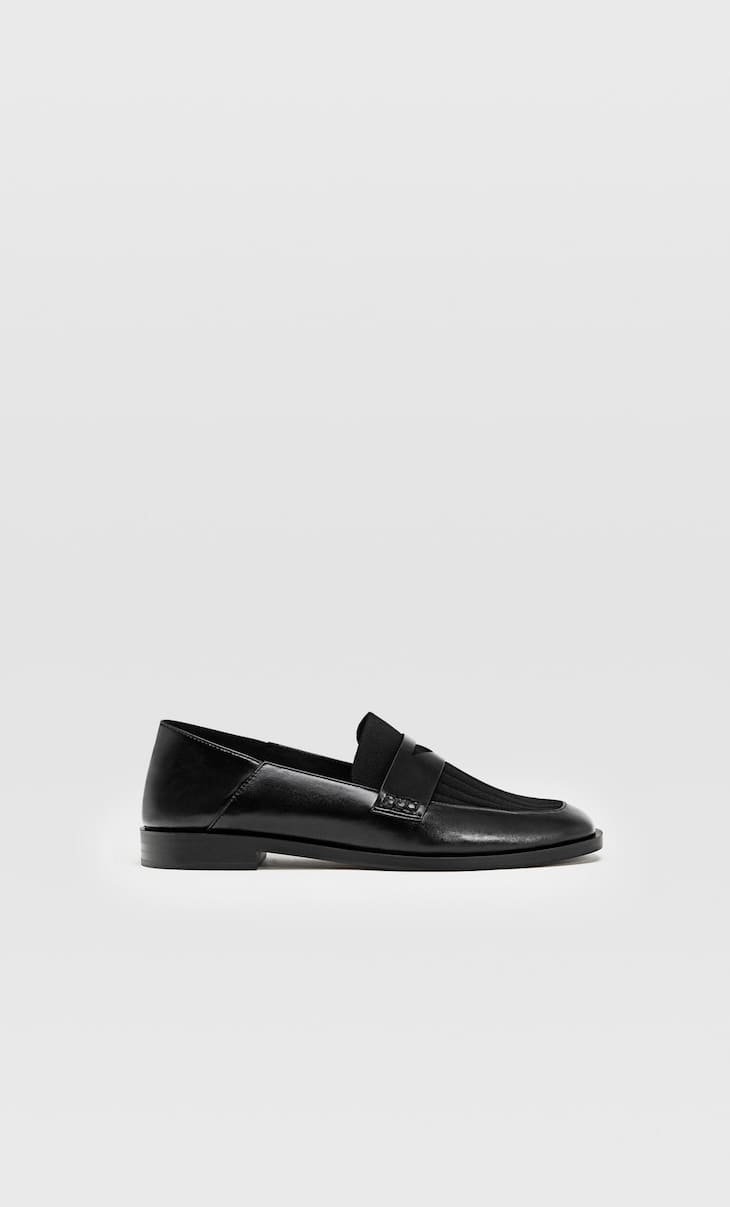 Loafers with black fabric detail