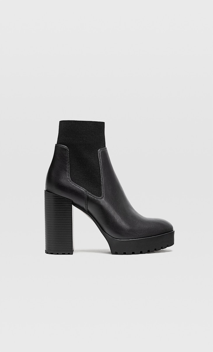 Platform sock-style ankle boots with track soles