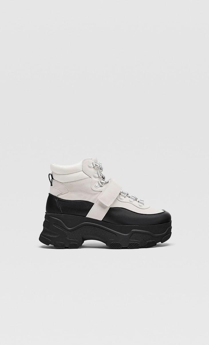 Kontrast maksi tabanlı yüksek bilekli spor ayakkabı