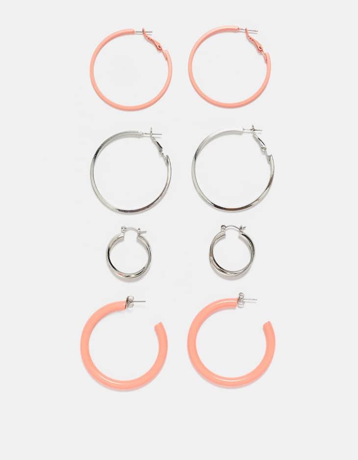 Set di 4 orecchini a cerchio basic colorati