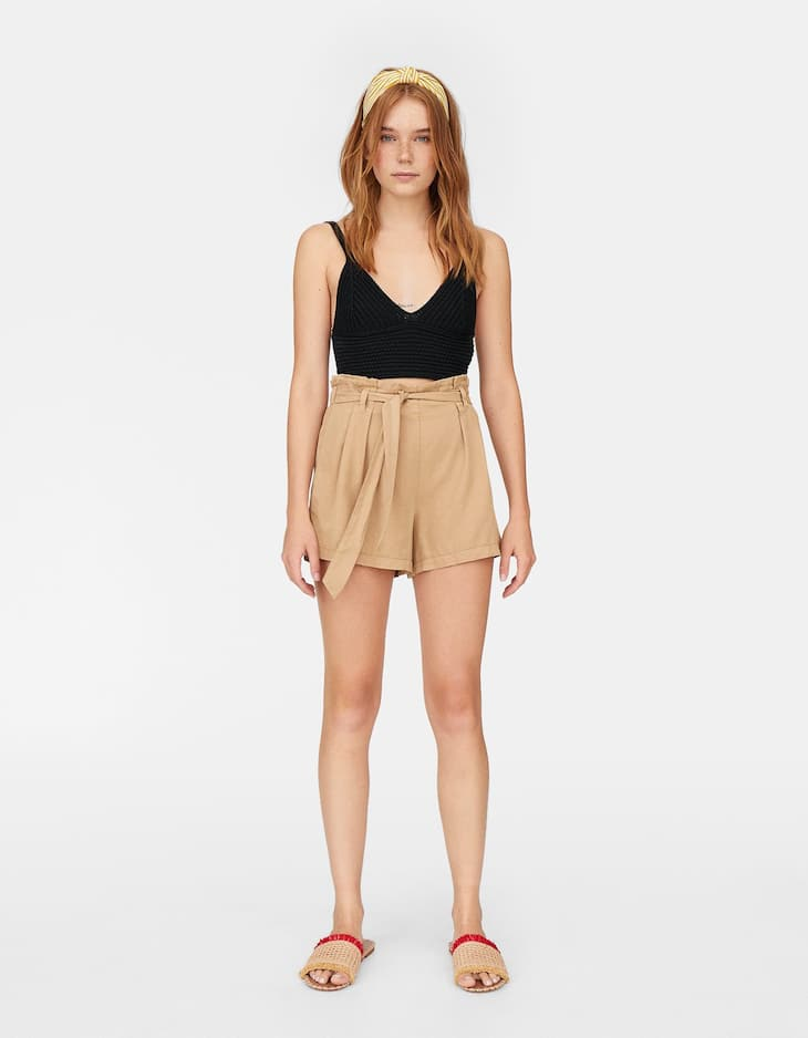 Lyocell shorts with tie belt