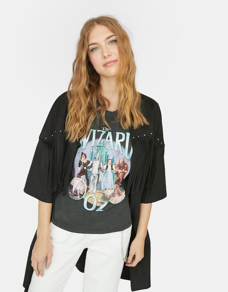 Faux suede kimono with fringes
