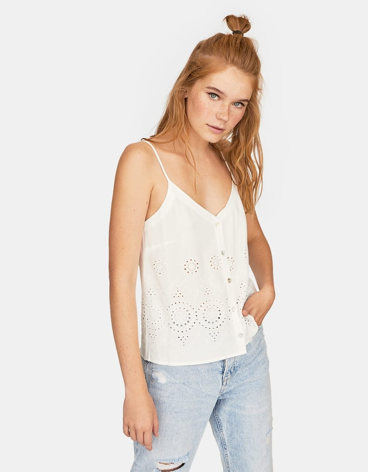 Swiss embroidery strappy top