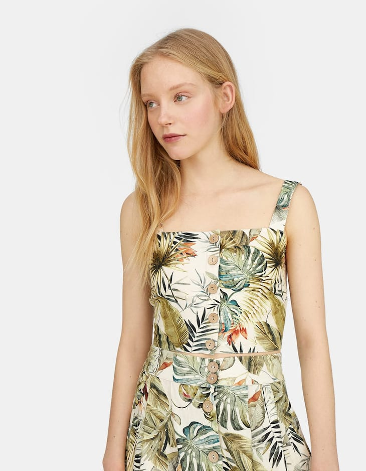 Tropical print top with buttons