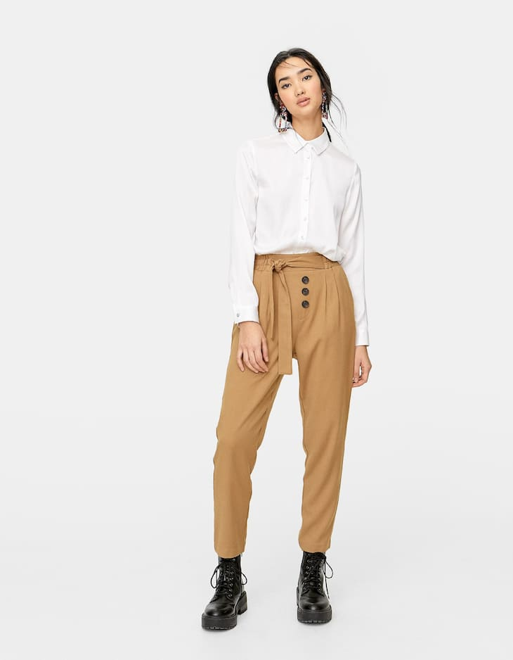 Twill baggy trousers with buttons