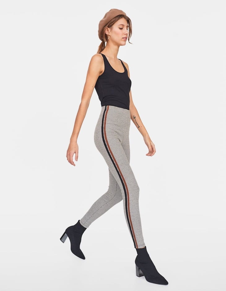Jacquard leggings with side stripes