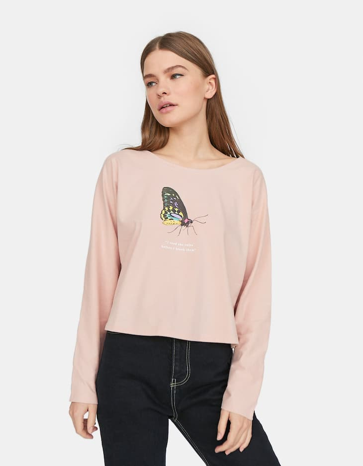 Join Life cute print cropped T-shirt