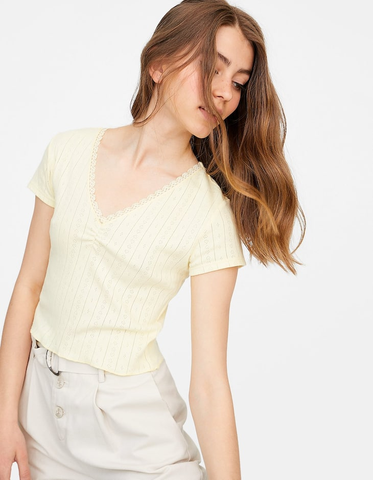 V-neck T-shirt with lace trim