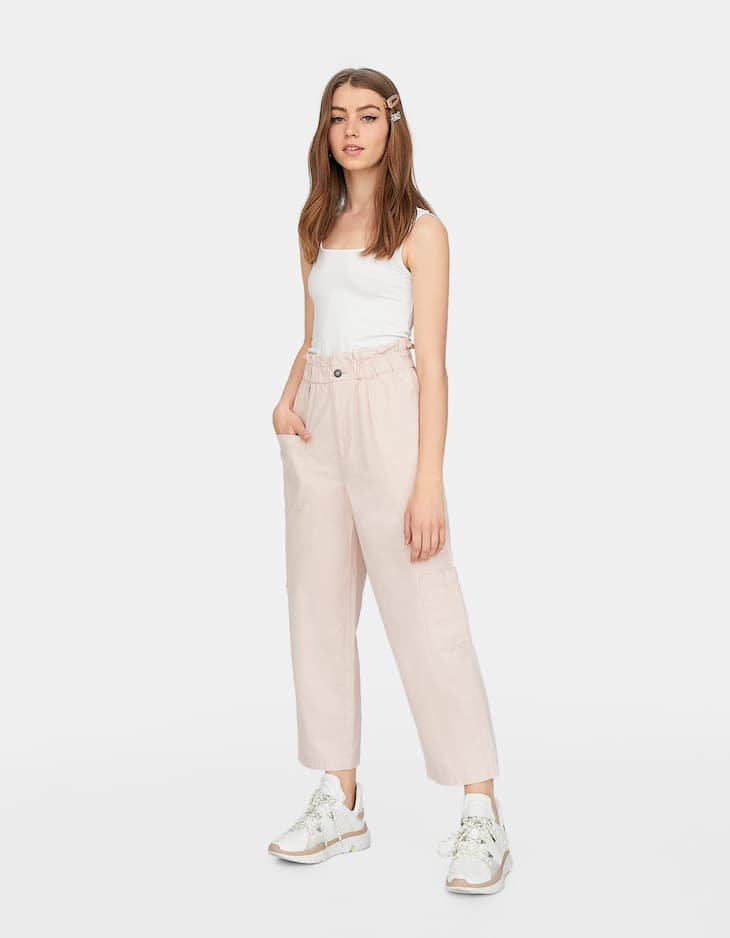 Zip-up paperbag culottes