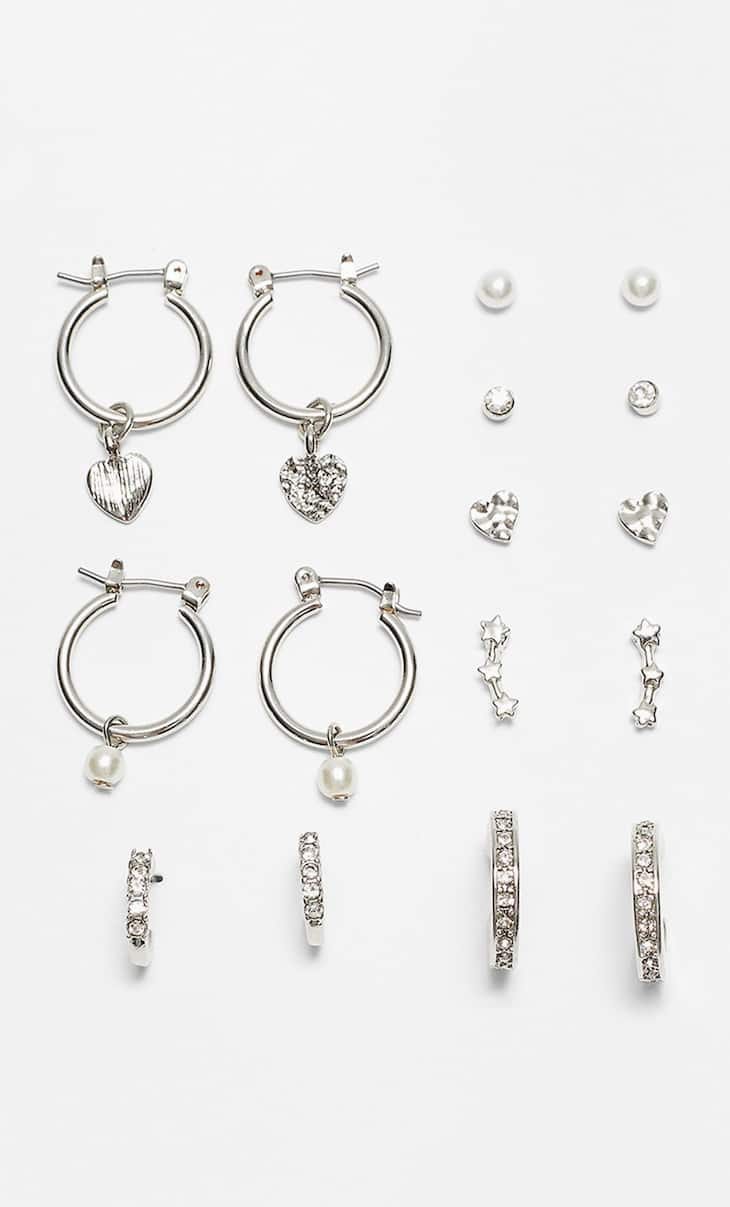 STR set of 8 pairs of earrings