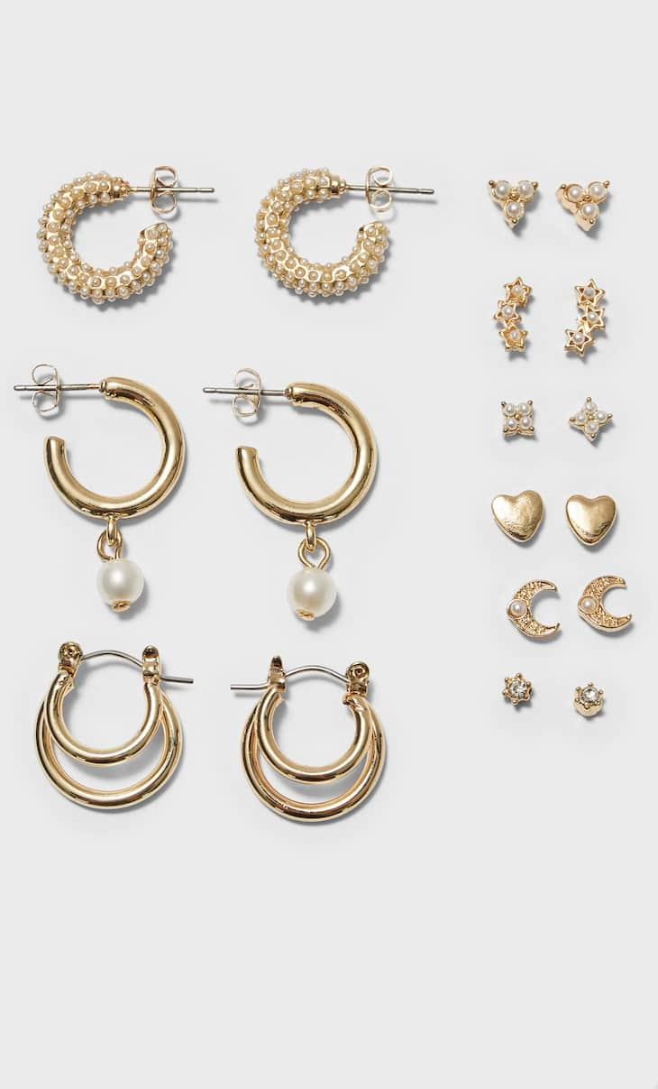 Xogo 9 pendentes perlas