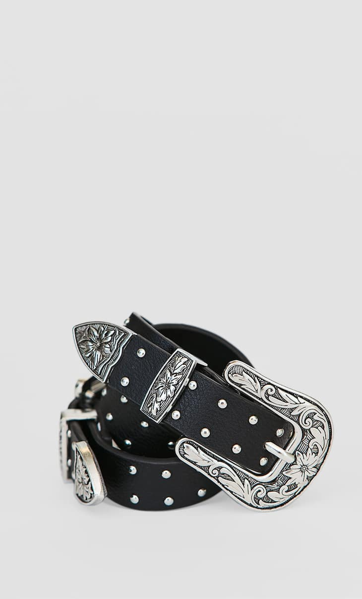 Studded cowboy belt with double buckle