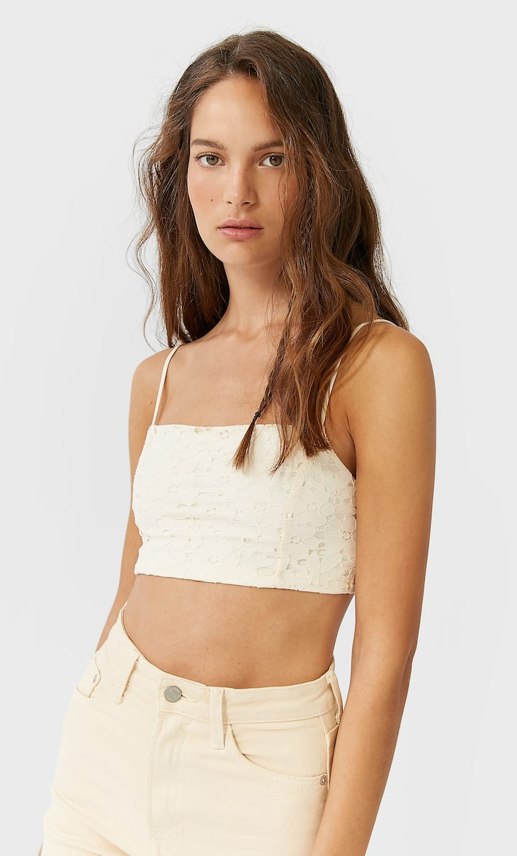 Bralette top denteladuna
