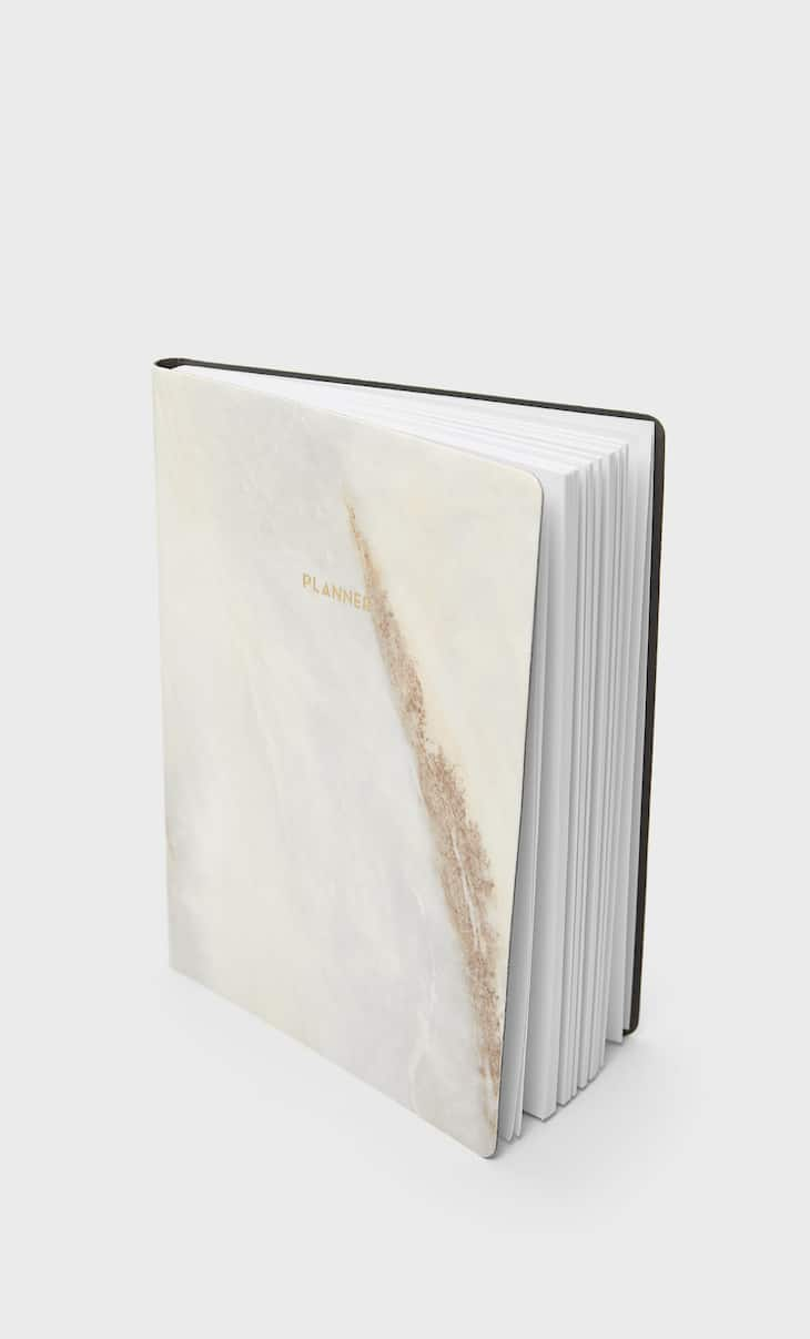 Faux-patent finish marbled planner
