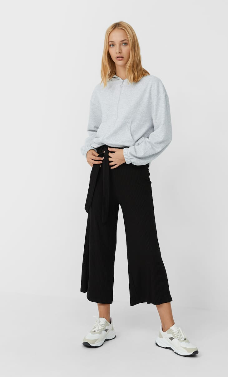 Kemerli triko culotte pantolon
