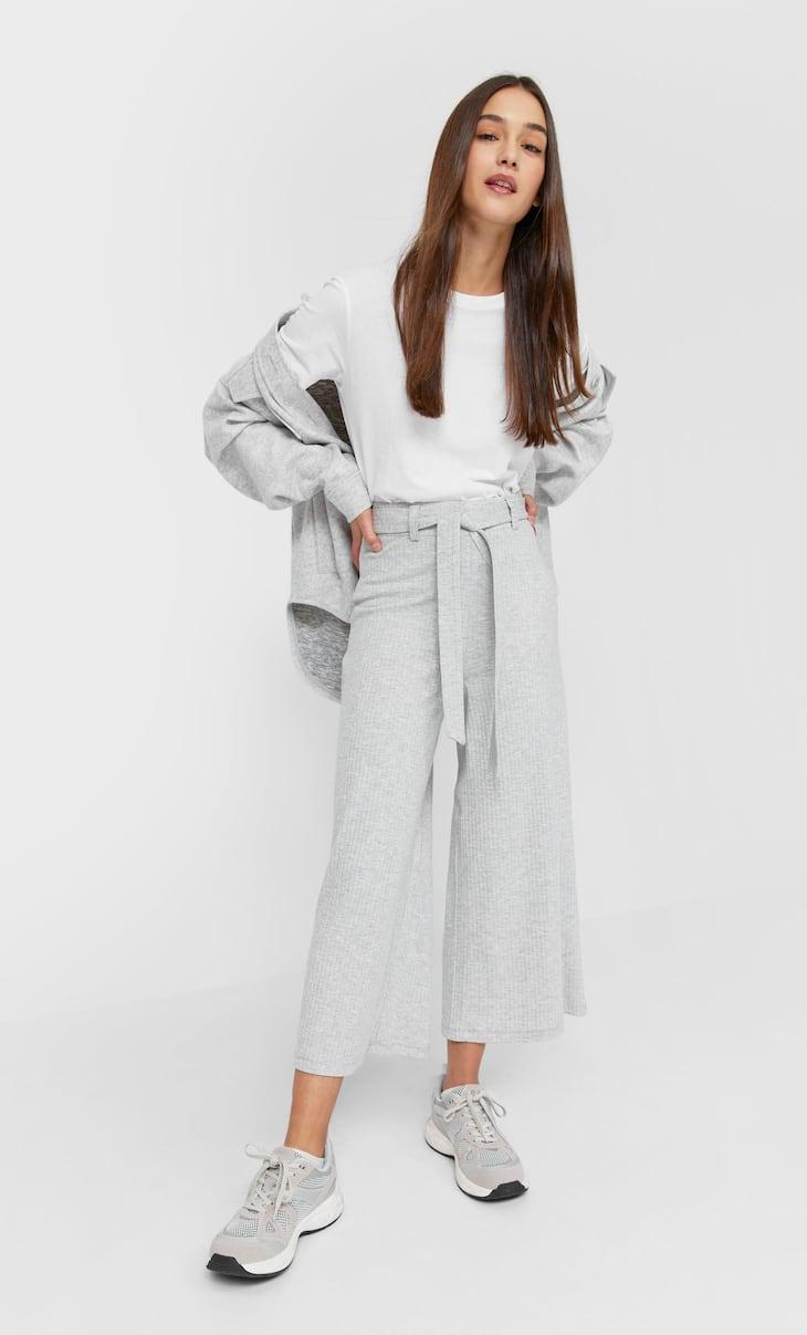 Jupe-culotte maille ceinture