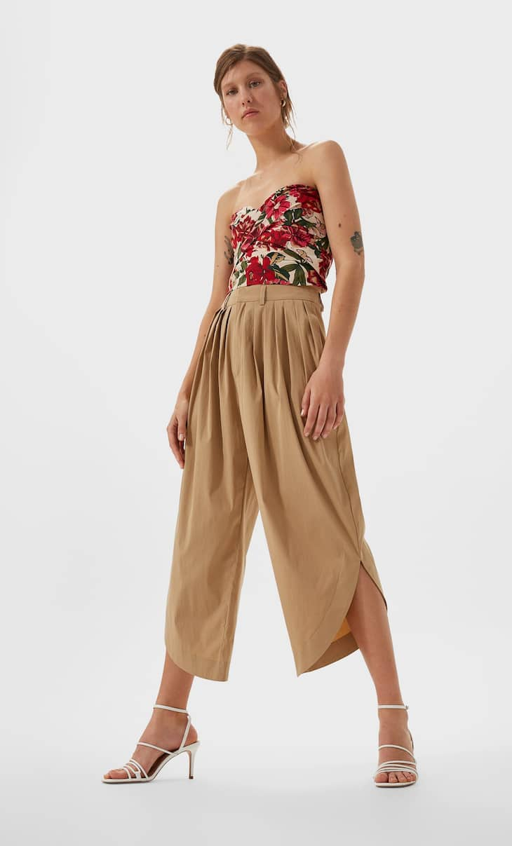 Culotte trousers with a rounded hem