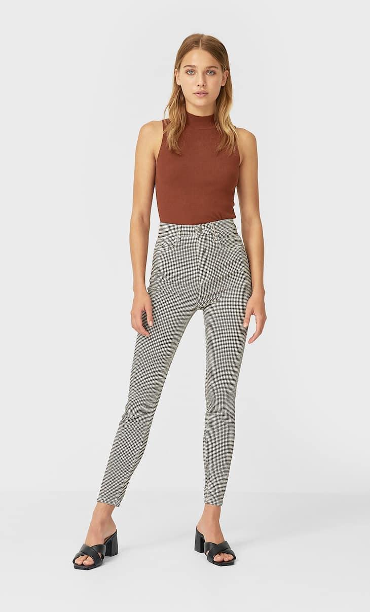 Printed super high-waist trousers