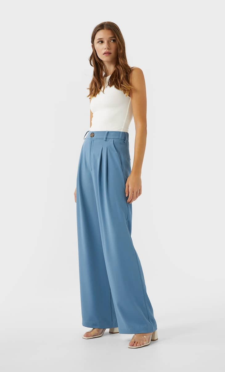 מכנסיים straight fit wide leg